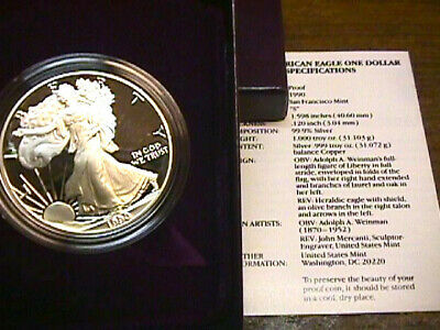 1990 Proof American Silver Eagle With Boxand Coa Paper. Free Shipping.