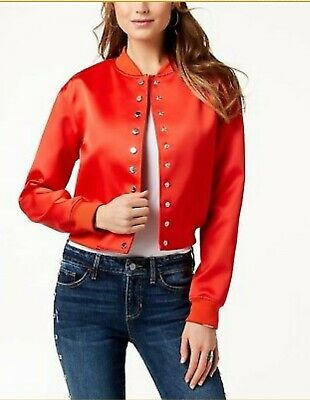 72772c8b9 GUESS SATIN BOMBER Jacket RED S