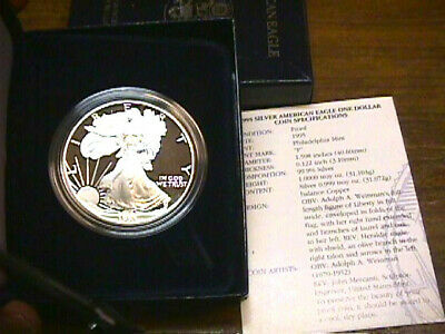 1995 Proof American Silver Eagle With Boxand Coa Paper. Free Shipping.