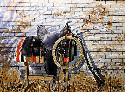 FRED MUELLER ANTIQUE SADDLE, giclee print  by Richard R. Nervig