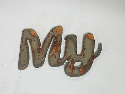 """3/"""" YES Rusty Rough Metal Wall Art Vintage Craft Ornament Sign Stencil Word"""