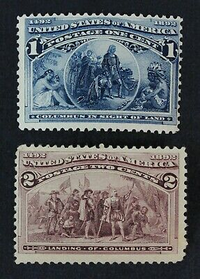 CKStamps: US Stamps Collection Scott#230 Columbian Mint H OG, #231 Mint NH OG