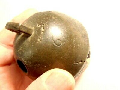 vintage single brass or bronze sleigh bell marked 6, H  top -2 3/4 inches