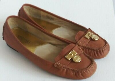 d0a0056a5e46 MICHAEL KORS Luggage Brown MK Hamilton Lock Leather Driving Loafer Flat 7  1/2