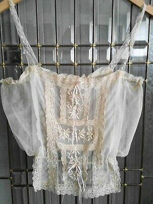 Victorian Era Net Fancy Mixed Lace Ivory Corset Cover Bodice Camisole Adjustable