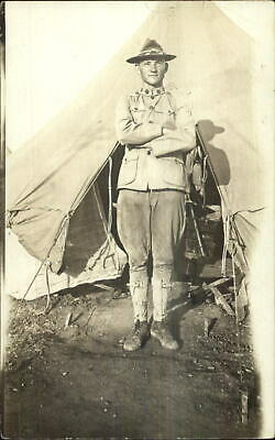 US Army Soldier Uniform Hat Boots Tent c1910 Real Photo Postcard