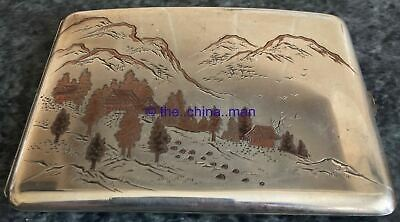 signed JAPANESE 950 SOLID STERLING SILVER & MIXED METAL CIGARETTE CASE 114g