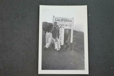 Vintage Photo 3 Men Crossing the Line Roadside Calfiornia State Line Sign 953059
