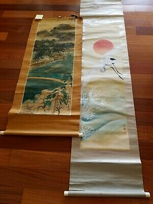 Two Vintage Signed Japanese Scroll Art Paintings