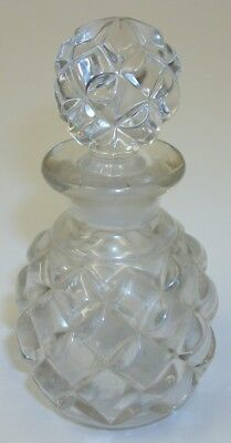 "Vintage Quilted Glass Vanity 4"" Perfume Bottle with Stopper"
