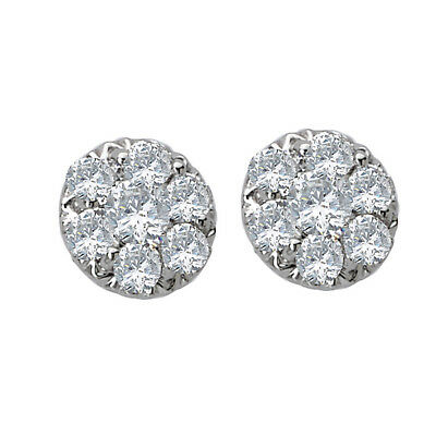 NEW 14k WHITE GOLD ROUND CIRCLE CLUSTER STUD DIAMOND EARRINGS .50cts.