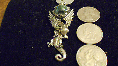 bling pewter MYTH crystal DRAGON CELTIC pendant charm leather hip hop necklace