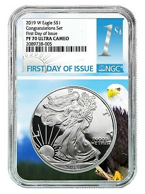 2019 W Congratulations Set Silver Eagle NGC PF70 - Eagle Core - First Day Issue