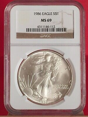 1986 NGC MS69 American Eagle Silver Dollar Coin #112