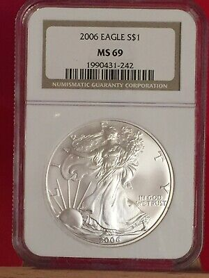 2006 NGC MS69 American Eagle Silver Dollar Coin #242