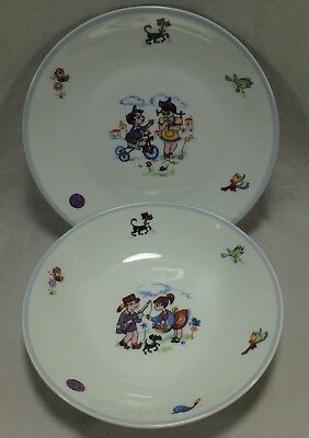 Spal Porcelanas Childrens Childs Dinner Plate Dish Cereal Soup Bowl Set Portugal