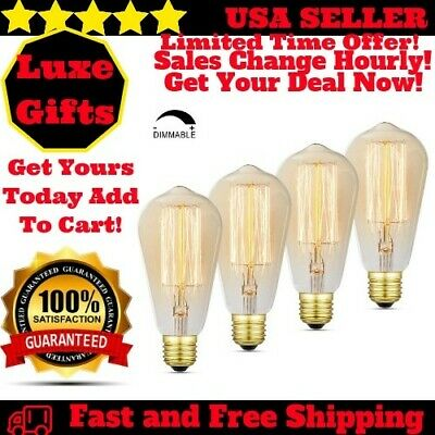 4 Pack Edison Light Bulb Dimmable Vintage Retro Filament 60 Watt Warm Glow E26