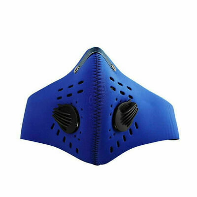Blue Anti Smoke Dust Air Purifying Face Mask Updated Carbon Filter Multi Layer