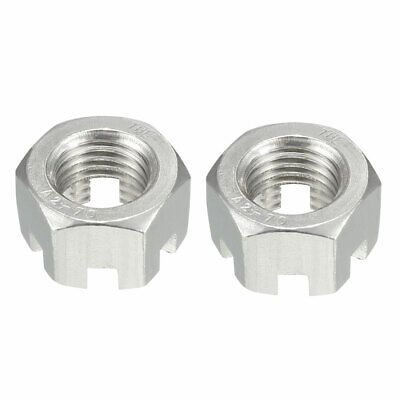 M16 x 2mm Pitch 304 Stainless Steel Slotted Hex Nuts 2Pcs