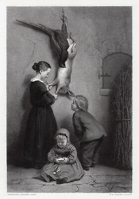 """Charming 1800s Henriette Browne Engraving """"The Child Critics"""" Framed SIGNED COA"""
