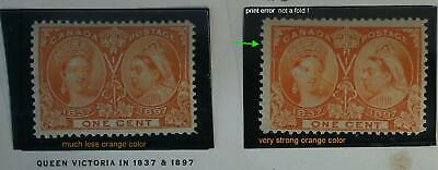 CANADA stamps 1897 2 x 1 cent print error