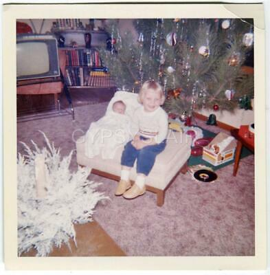 1960s Vintage Photo Proud Sister w Newborn Baby Sibling on Ottoman by Xmas Tree