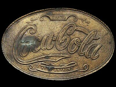 IK23167 VINTAGE 1970s **COCA-COLA** 5 CENTS AT FOUNTAINS BELT BUCKLE