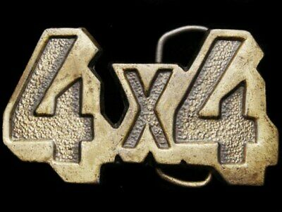 IL01117 COOL VINTAGE 1970s CUT-OUT LETTERS **4X4** OFF-ROAD TRUCK BELT BUCKLE