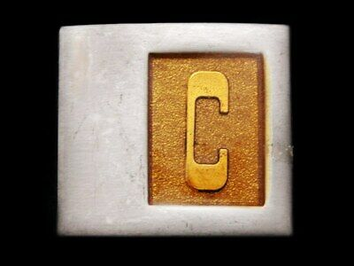 IL23111 AWESOME VINTAGE 1970s INITIAL **C** SILVERTONE BELT BUCKLE
