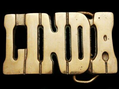IL01122 VINTAGE 1970s CUT-OUT NAME **LINDA** SOLID BRASS BELT BUCKLE