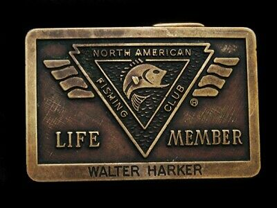 NB19111 VINTAGE 1980s **NORTH AMERICAN FISHING CLUB LIFE MEMBER** BELT BUCKLE