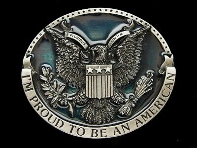 Nc29162 *Nos* Vintage 1981 **I'm Proud To Be An American** Belt Buckle