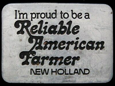 Il27137 Vintage 1982 **New Holland** Tractors Proud To Be American Farmer Buckle