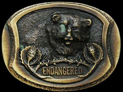 Il25106 Vintage 1977 ***Endangered - Grizzly Bear*** Brasstone Belt Buckle
