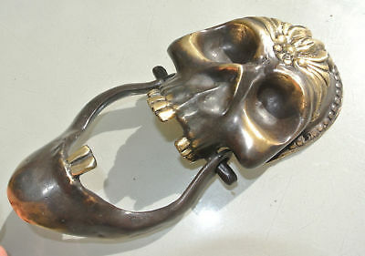 """used SKULL head and JAW heavy front Door Knocker SOLID BRASS day of the dead 8"""""""