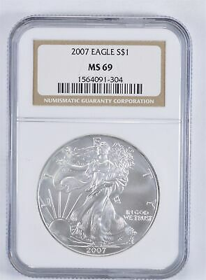 MS69 2007 American Silver Eagle - Graded NGC *889