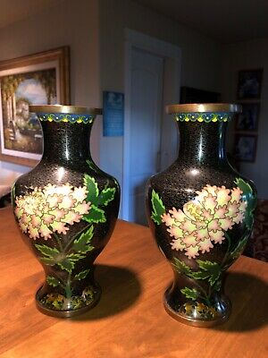 Antique pair Chinese Cloisinne Vases, black, pink flower, copper base mark China