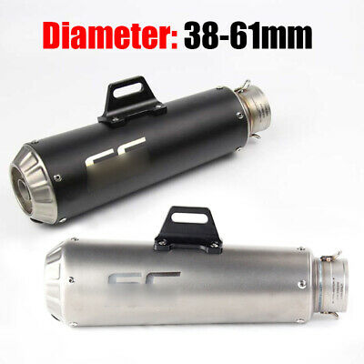 60.5mm Universal Exhaust Muffler Pipe Slip On Motorcycle W/ Removable DB Killer