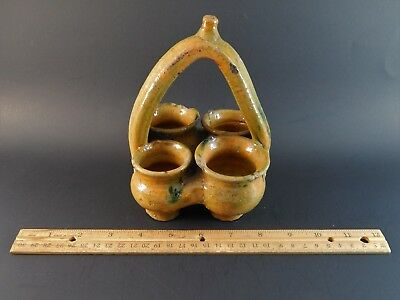 Unusual Pre Columbian or Greco Roman Turkish Middle Eastern Four Pot Utensil