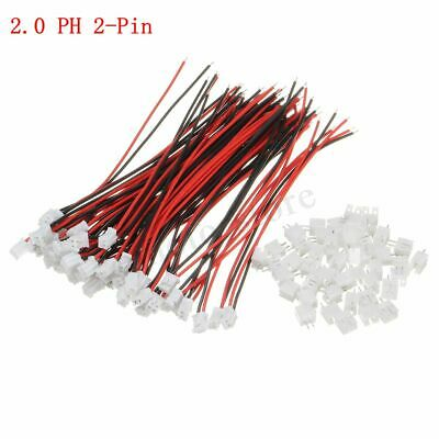 50 Sets Mini Micro JST 2.0mm PH 2-Pin Male&Female Connector Plug Wires