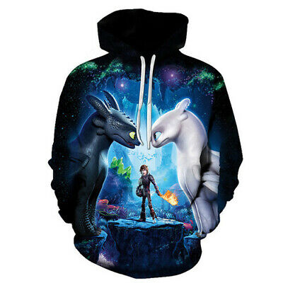 Women Men 3D Print Film How To Train Your Dragon Hoodies Pullover Sweatshirts