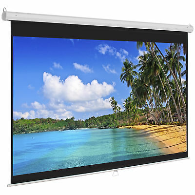 Projection Screen Manual 119-Inch x 119-Inch Projector Pull Down Screen Home...