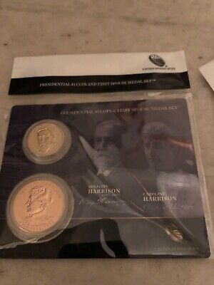 2012 US Mint Presidential $1 Coin & First Spouse Medal Set • Benjamin Harrison