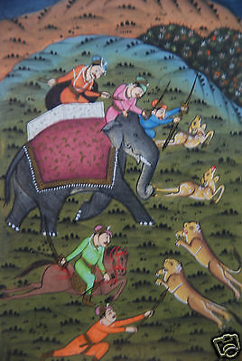 Beautifully Framed Original Enlightened Indian Hunting Painting on Wove Paper