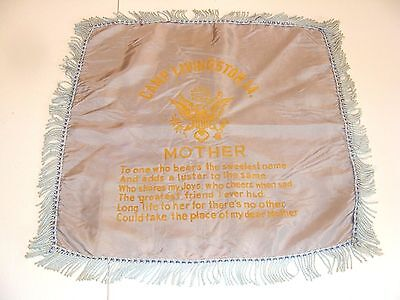 Vintage WWII CAMP LIVINGSTON LA Louisiana Pillow Cover MOTHER Sham US U S ARMY
