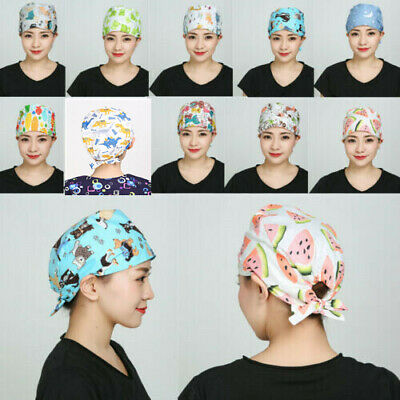 Men Women Doctor Nurses Cap Printing Scrub Medical Surgical Surgery Kitchen Hat