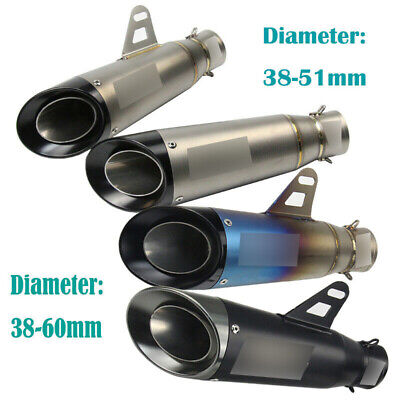 51/60mm Universal Motorcycle Exhaust Muffler Tail Pipe Slip On Modified Scooter