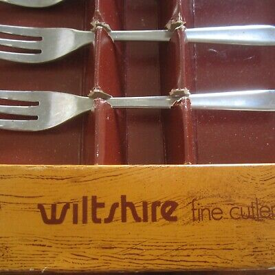 Vintage Wiltshire Fine Cutlery 6 Stainless Steel Forks Boxed 1960s Retro