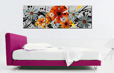"3PCS 16X16"" Abstract Flowers Wall Decor Art Oil Painting On Canvas NO Frame 297"