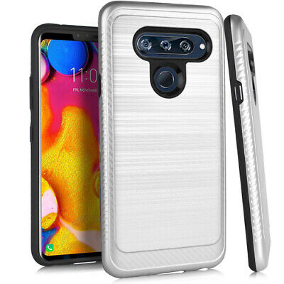 LG V40 ThinQ - Brushed Armor Shockproof Case Hybrid Silver